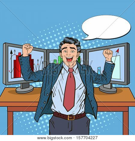 Pop Art Successful Businessman with Computers and Graphs of Growing Market Shares. Vector illustration