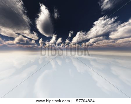 Surreal white reflective landscape with clouds 3d Render