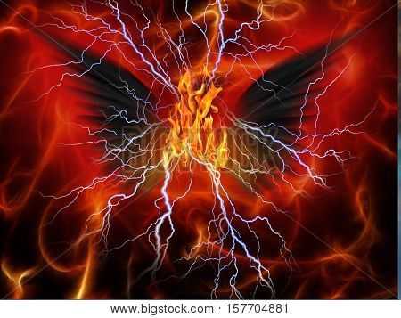 Evil Winged Beast of fire and lighting 3d Render