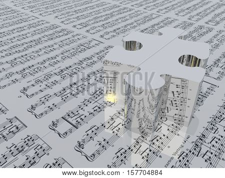 Puzzle piece and music notation Sheet music is provided with 3D software used to create this image and no release is needed   3D Rendered