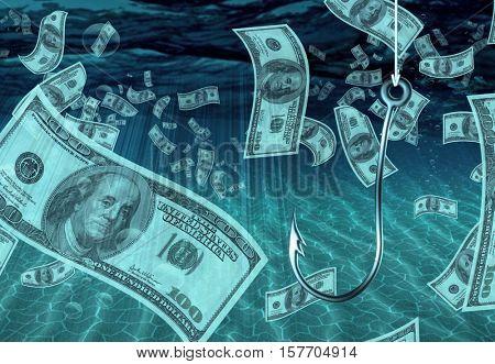One Hundred Dollar Bill Fish Hook 3d Render