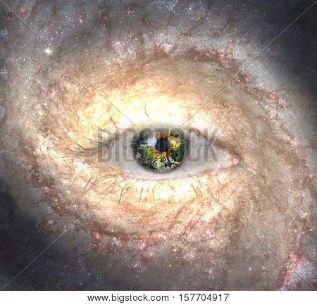 Eye in midst of Galaxy with Earth Reflection 3d Render  Some elements provided courtesy of NASA