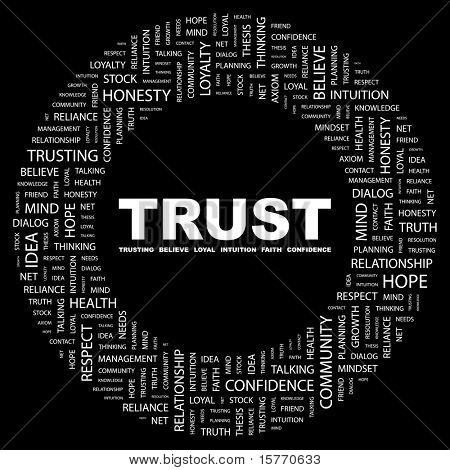TRUST. Word collage on black background. Vector illustration. Illustration with different association terms.