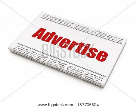 Advertising concept: newspaper headline Advertise on White background, 3D rendering