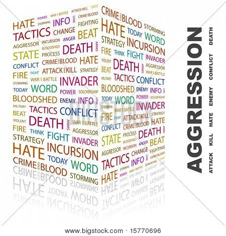 AGGRESSION. Word collage on white background. Vector illustration. Illustration with different association terms.