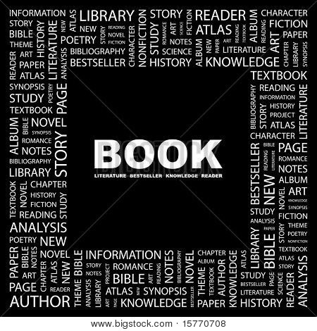 BOOK. Word collage on black background. Vector illustration. Illustration with different association terms.