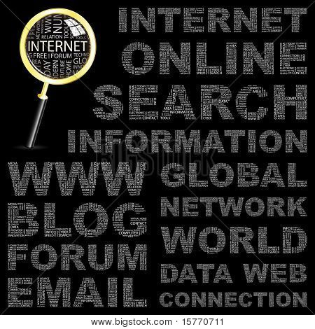 INTERNET. Word collage on black background. Vector illustration. Illustration with different association terms.
