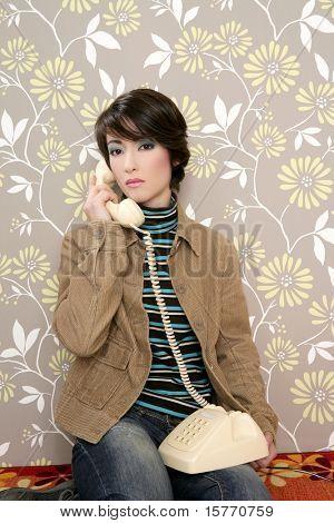 talking telephone retro woman on vintage wallpaper wall