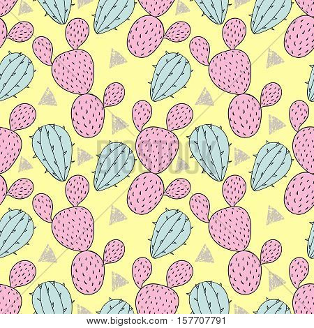 Color cactus seamless pattern, cacti vector illustration. Hand drawn desert plant in doodle style for art therapy, poster, card, textile, wallpaper template