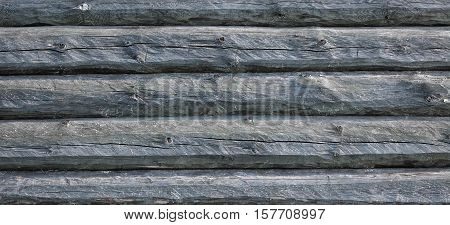 Old Hewn Natural Log Cabin Or Barn Wall Texture. Rustic Log House Vintage Wall Horizontal Background. Cracked Dry Wooden Debarked Log Rural Building Wall Structure. Abstract Web Banner With Copy Space