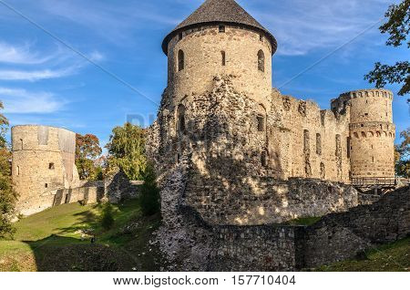 Watchtower and surrounding wall of castle ruins in Cesis town, Latvia