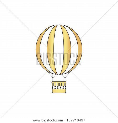 air balloon Gold vector icon with black contour line. Flat computer symbol