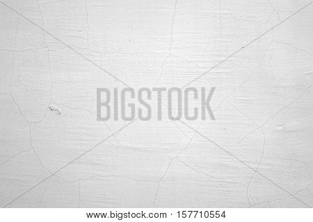 Old White Wash Painted Grunge Exterior Wall Blank Background Texture