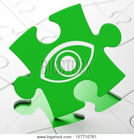 Safety concept: Eye on Green puzzle pieces background, 3D rendering