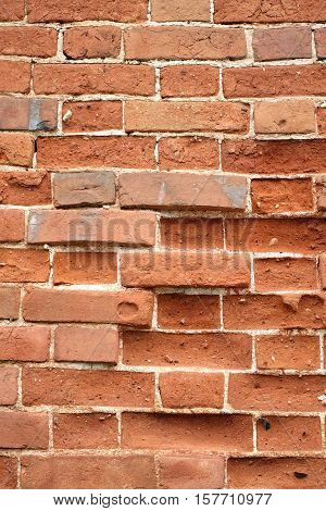 Old Distressed Red Brick Wall With Grungy Surface Vertical Background