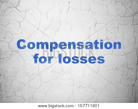Money concept: Blue Compensation For losses on textured concrete wall background