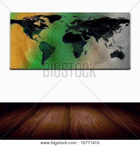 Mapa del mundo en la pared en la habitación