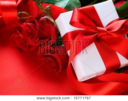 Roses and Gift box.Wedding present