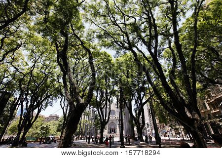 SAO PAULO SP BRAZIL - NOV 20 2016 - square of se in downown ground zero of sao paulo city