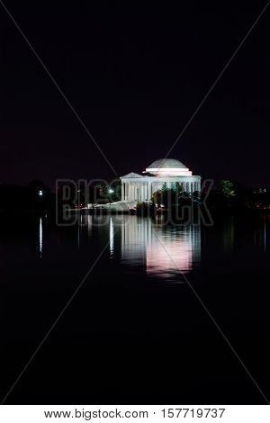 Thomas Jefferson Memorial Night Illuminated Evening Reflecting Tidal Basin Cityscape