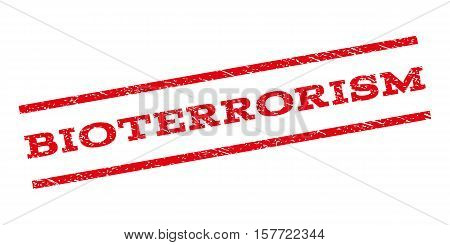 Bioterrorism watermark stamp. Text caption between parallel lines with grunge design style. Rubber seal stamp with dirty texture. Vector red color ink imprint on a white background.