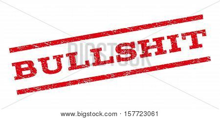 Bullshit watermark stamp. Text caption between parallel lines with grunge design style. Rubber seal stamp with dust texture. Vector red color ink imprint on a white background.