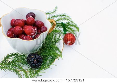 Fresh Falling Snow Christmas Winter Berry greeting card with copy space with Christmas tree branches and sparkly red ornament. Cranberry and black berry, cranberries with snow on them in white tea cup healthy relaxing luxury escape photography