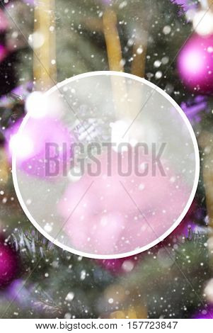 Vertical Christmas Tree With Rose Quartz Balls. Close Up Or Macro View. Christmas Card For Seasons Greetings. Snowflakes For Winter Atmosphere. Copy Space For Advertisement