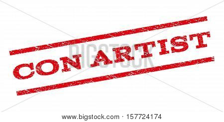 Con Artist watermark stamp. Text tag between parallel lines with grunge design style. Rubber seal stamp with unclean texture. Vector red color ink imprint on a white background.