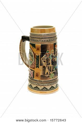Stein For Beer By Hand On A White Background.