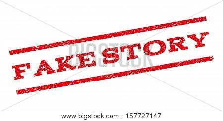 Fake Story watermark stamp. Text caption between parallel lines with grunge design style. Rubber seal stamp with dust texture. Vector red color ink imprint on a white background.