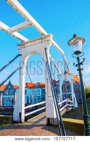 Historical Bascule Bridge In Enkhuizen, Netherlands