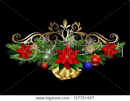 Christmas decoration with evergreen treess holly and pinecone and poinsettia and ribbon isolated with bells