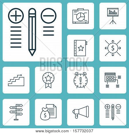 Set Of Project Management Icons On Growth, Opportunity And Present Badge Topics. Editable Vector Ill