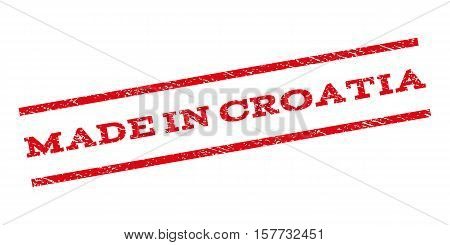 Made In Croatia watermark stamp. Text caption between parallel lines with grunge design style. Rubber seal stamp with dirty texture. Vector red color ink imprint on a white background.