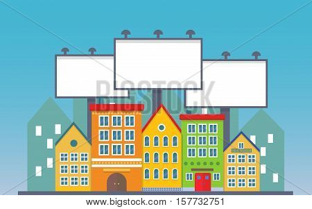 Big three blank urban billboard together over small city town street buildings. Cartoon Billboard advertisement commercial blank