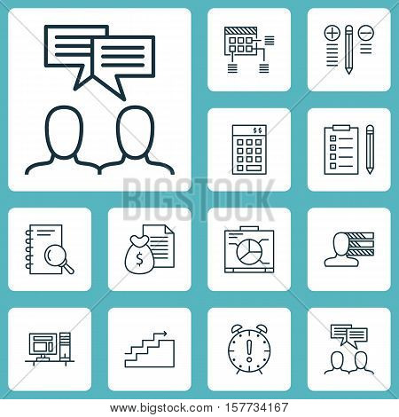 Set Of Project Management Icons On Analysis, Time Management And Growth Topics. Editable Vector Illu