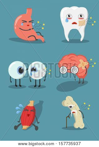 Internal human organs with cute cartoon expression faces set. Vector illustration different characters muscle bone tooth braineyestomach.Internal human organs feel sick.