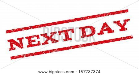 Next Day watermark stamp. Text caption between parallel lines with grunge design style. Rubber seal stamp with dirty texture. Vector red color ink imprint on a white background.
