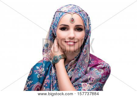 Muslim woman in fashion concept isolated on white