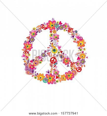 Hippie print with peace flower symbol isolated on white background