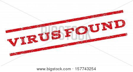 Virus Found watermark stamp. Text tag between parallel lines with grunge design style. Rubber seal stamp with scratched texture. Vector red color ink imprint on a white background.