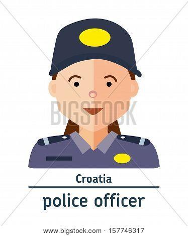 Avatar Croatia police officer on white background. Flat design.  Avatar for app
