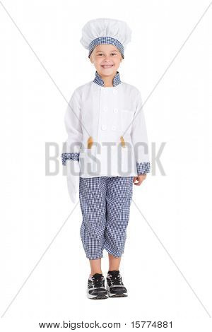happy little chef isolated on white