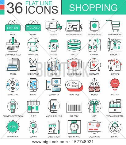 Vector Shopping e-commerce color flat line outline icons for apps and web design. Shopping mall commerce icons elements