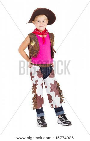 little cowgirl isolated on white