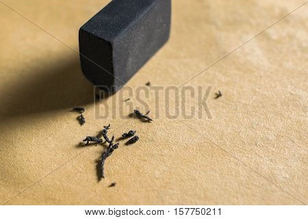 Black Rubber Eraser4B, Rubber Eraser Removing A Written Mistake On A Piece Of Paper, Delete, Correct