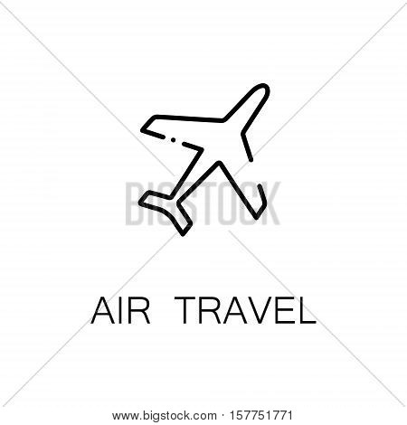 Air travel flat icon. Single high quality outline symbol of travel for web design or mobile app. Thin line signs of plane for design logo, visit card, etc. Outline pictogram of plane