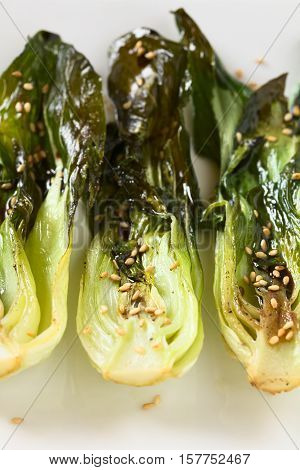 Baked bok choy or pak choi seasoned with soy sauce and roasted sesame seeds photographed with natural light (Selective Focus Focus one third into the bok choy in the middle)