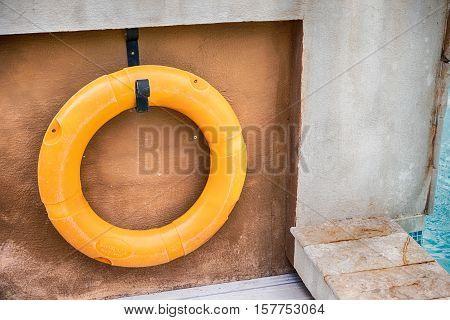 Orange lifebuoy All Water rescue emergency equipment.